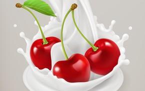 Picture cherry, background, milk, berry
