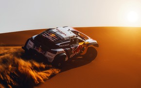 Picture Sunset, The sun, Sand, Auto, Sport, Machine, Speed, Race, Peugeot, Lights, Red Bull, Rally, Dakar, …
