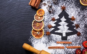Picture tree, orange, New Year, Christmas, cinnamon, merry christmas, flour, decoration, xmas