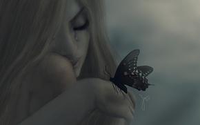 Wallpaper girl, mood, butterfly, tears, blonde