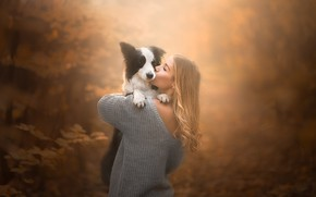Picture autumn, girl, mood, dog, friendship, friends, bokeh, The border collie