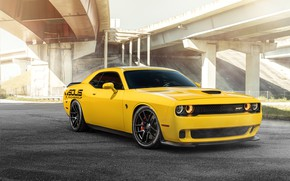 Picture yellow, design, Dodge Challenger, SRT