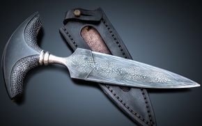 Picture leather, knife, sheath, grooves, by theforgeoftalents, push dagger, pushdagger