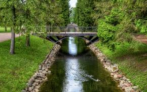 Picture bridge, pond, Park, tree, HDR, Saint Petersburg, park, bridges, St. Petersburg