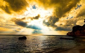 Picture sea, clouds, landscape, rocks, shore, Italy, glow, Apulia