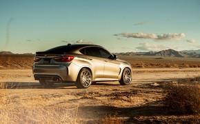 Picture road, the sky, clouds, landscape, mountains, design, desert, BMW X6M