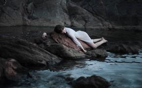 Picture water, girl, stones, dress, Greta Larosa