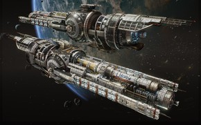 Picture space, fiction, ship, planet, art, hans palm, USR Guardian - Fractured Space