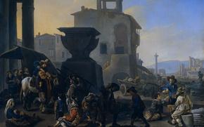 Picture oil, picture, canvas, the urban landscape, Johannes Lingelbach, Italian Market and Restaurant
