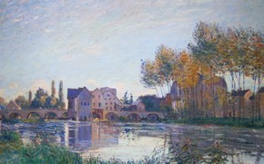 Picture autumn, trees, landscape, bridge, river, home, picture, Alfred Sisley, Alfred Sisley, Sea-sur-Loing. Sunset