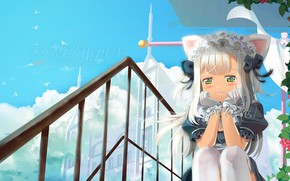 Picture the sky, anime, art, girl