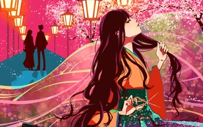 Picture petals, silhouette, lights, pair, kimono, alley, date, long hair, scissors, the cherry blossoms