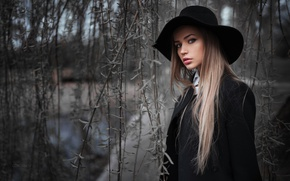Picture branches, model, hat, makeup, hairstyle, beauty, coat, in black, Mary Jane, Gorokhov