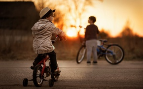 Picture bike, children, boy, The boys and their bikes
