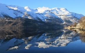 Picture mountains, lake, reflection, calm, Norway, Norway, Hordaland, Utne