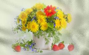 Wallpaper spring, strawberry, the Wallpapers, summer, dandelions, still life, flowers