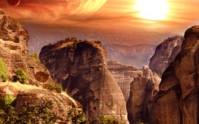 Picture the sky, the sun, trees, mountains, nature, stones, rocks, planet, fantasy