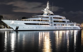 Picture water, night, lights, reflection, yacht