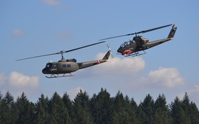 Picture flight, helicopters, pair, blades