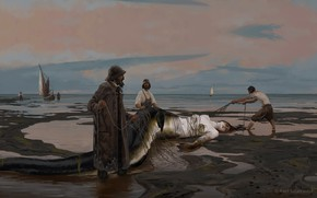 Picture shore, mermaid, art, fishermen, Mermaid, Axel Sauerwald