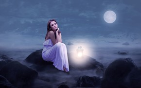 Picture the sky, girl, clouds, light, night, fog, the moon, dress, art, lantern, beautiful, sitting, in …