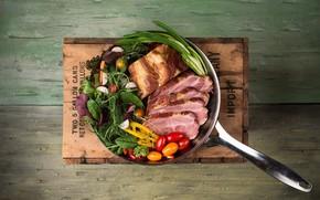 Wallpaper ham, tomatoes, Board, salad, meat