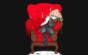 Picture girl, soldier, military, war, anime, chibi, blonde, asian, sofa, manga, gloves, oriental, asiatic, powerful, strong, …