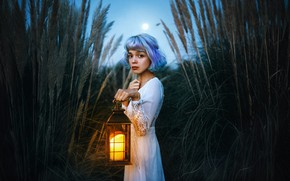Picture look, girl, the reeds, mood, dress, lantern, blue hair, Valentina Diaz