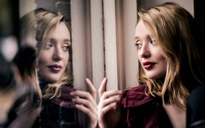 Picture girl, face, reflection, hair, lipstick