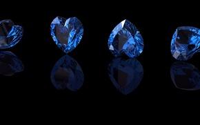 Picture blue, stone, hearts, sapphire