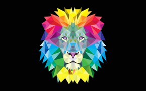 Picture animal, paint, vector, Leo, mane, low poly