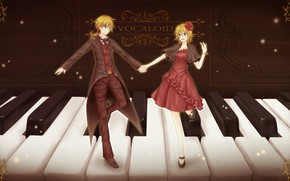 Picture girl, keys, guy, piano, two, Vocaloid, Vocaloid, Kagamine Len, Kagamine Rin