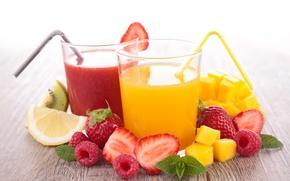 Picture glass, berries, raspberry, lemon, Board, kiwi, strawberry, juice, tube, drink, fruit, mango, mint