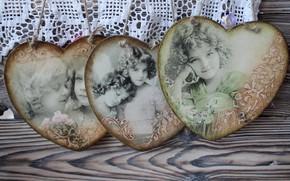Picture girls, heart, vintage, decoupage