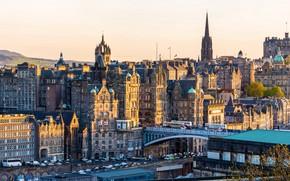Picture autumn, the sun, trees, machine, road, home, Scotland, bridges, Edinburgh