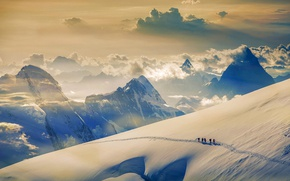 Picture snow, mountain, Switzerland, climbers, Jungfrau, The Bernese Alps