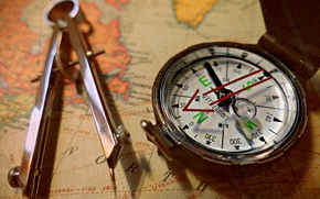 Wallpaper map, the compass, compass, macro, style