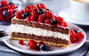 Picture berries, raspberry, blueberries, cake, cake, cream, dessert, piece, biscuit, berries