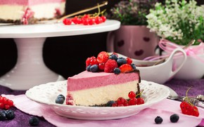 Wallpaper berries, cake, cream, chocolate, cheesecake, sweet
