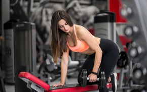 Picture girl, sport, lesson, weight, trainer, training