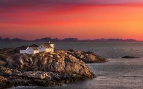 Picture sea, sunset, shore, Norway, Nordland, Henningsvar