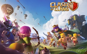 Picture girl, sword, game, woman, man, fight, ken, blade, bow, shield, arrow, barbarian, Clash Of Clans