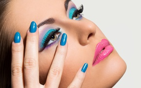 Wallpaper blue, female, nails, eyes, make up
