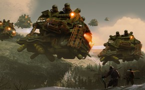 Picture forest, mountains, warriors, aircraft, recon squad