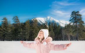 Picture Winter, Mountains, Children, Hands, Child, Girl Hat
