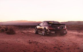 Picture design, black, desert, Mercedes, car
