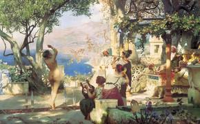 Wallpaper Dance among swords, oil, mountains, Canvas, 1881, speech, lake, naked woman, Henri semiradzki