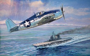 Picture figure, the carrier, artwork, carrier-based fighter, Grumman F6F-3 Hellcat