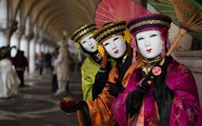 Wallpaper costume, carnival, umbrella, mask, Venice, Italy