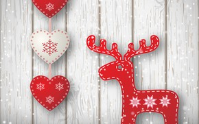 Picture background, holiday, figure, Christmas, deer, hearts